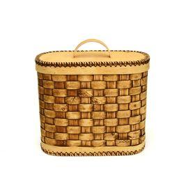 Хлебница плетеная высокая. Короб из бересты, фото