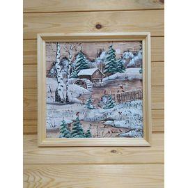 Картина на бересте «Зимний пейзаж» 34х34 (d48-49), фото