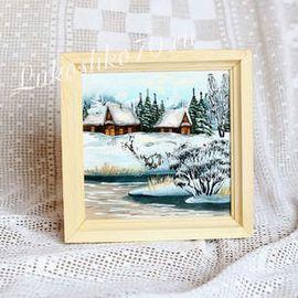 Картина из бересты «Зима» 21х21, фото