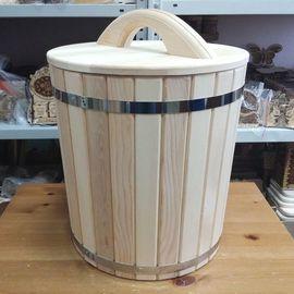 Кадка из кедра с гнетом и крышкой 50 л, фото