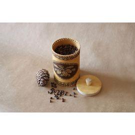 Туес из бересты «Шишки» с кедровыми орехами 0,5 кг, фото