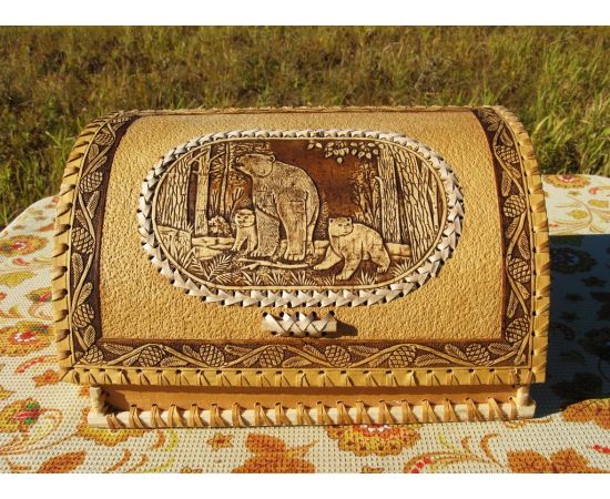 """Хлебница из бересты """"Медведица с медвежатами"""", фото"""