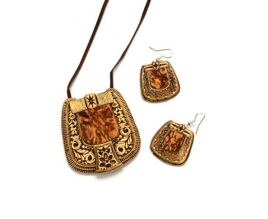 Набор серёжки и подвеска из бересты «Березка», фото