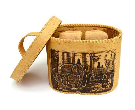 """Хлебница большая овальная """"Лесные жители"""". Короб из бересты, фото , изображение 4"""