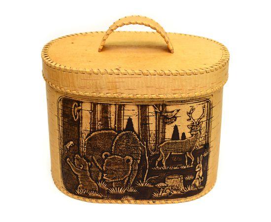 """Хлебница большая овальная """"Лесные жители"""". Короб из бересты, фото , изображение 5"""