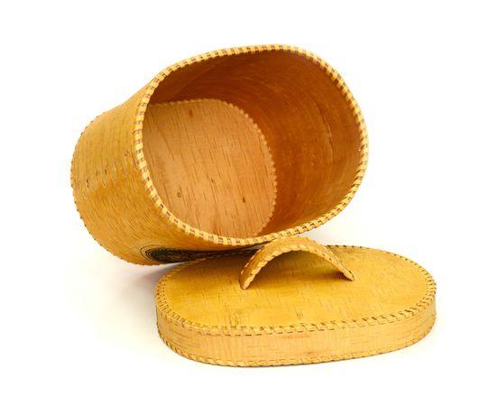 """Хлебница большая овальная """"Лесные дары"""". Короб из бересты, фото , изображение 4"""