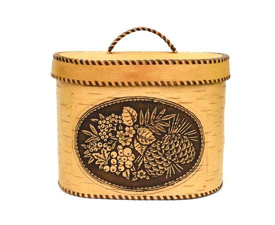 """Хлебница большая овальная """"Лесные дары"""". Короб из бересты, фото , изображение 8"""