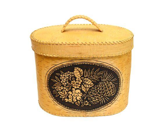 """Хлебница большая овальная """"Лесные дары"""". Короб из бересты, фото , изображение 7"""