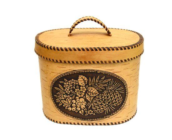 """Хлебница большая овальная """"Лесные дары"""". Короб из бересты, фото , изображение 9"""
