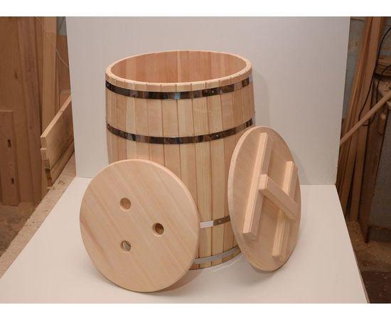 Бочка деревянная гнутая с крышкой 90 л (без гнета), фото , изображение 2