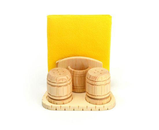 Набор из кедра для специй с салфетницей, фото