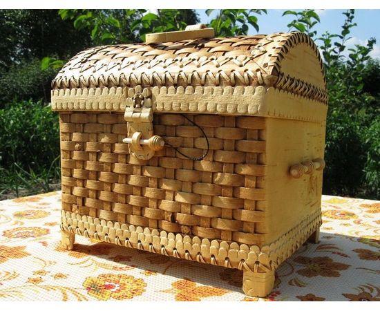 Сундук из бересты плетеный большой, фото , изображение 2
