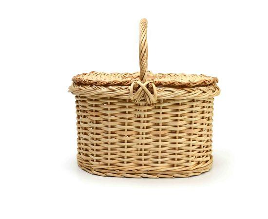 Корзина плетеная с крышкой для пикника малая, фото , изображение 2