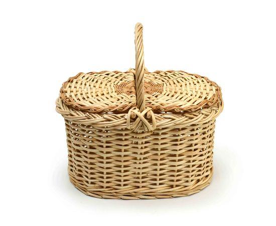 Корзина плетеная с крышкой для пикника малая, фото