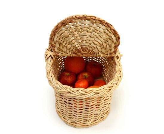 Корзина плетеная с крышкой для пикника малая, фото , изображение 4