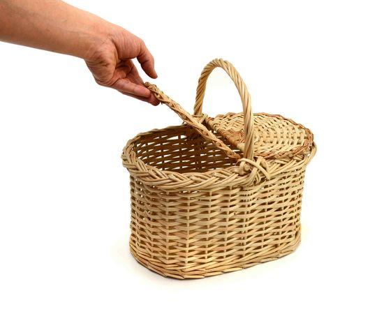 Корзина плетеная с крышкой для пикника малая, фото , изображение 6