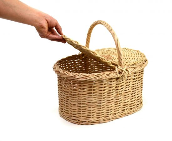 Корзина плетеная с крышкой для пикника средняя, фото , изображение 8
