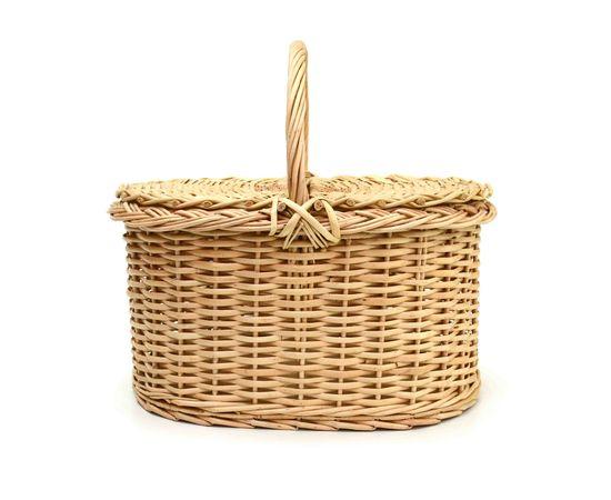 Корзина плетеная с крышкой для пикника средняя, фото , изображение 2