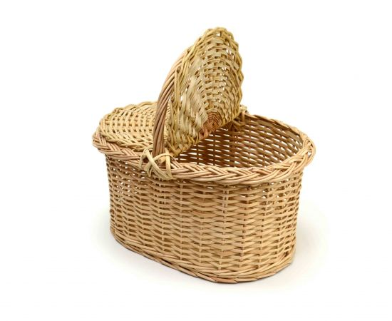Корзина плетеная с крышкой для пикника средняя, фото , изображение 3