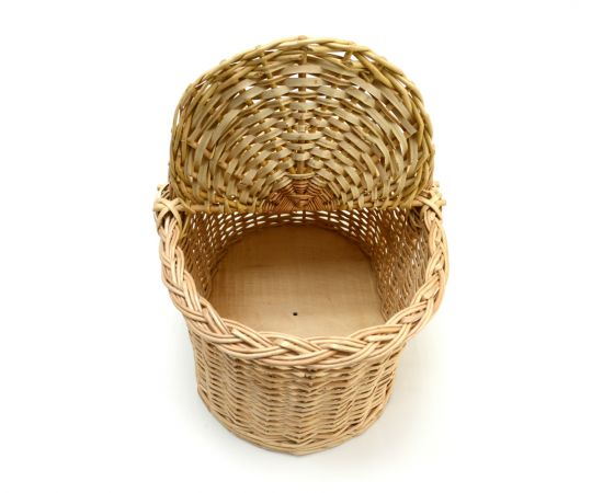 Корзина плетеная с крышкой для пикника средняя, фото , изображение 5