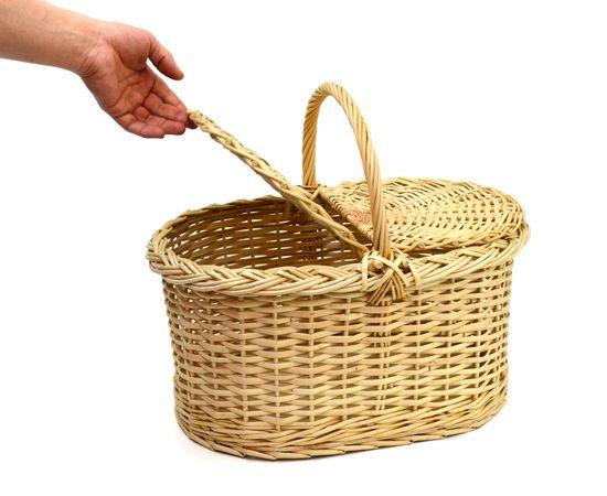 Корзина плетеная с крышкой для пикника большая, фото , изображение 6