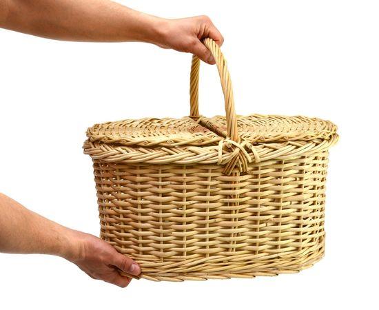 Корзина плетеная с крышкой для пикника большая, фото , изображение 7