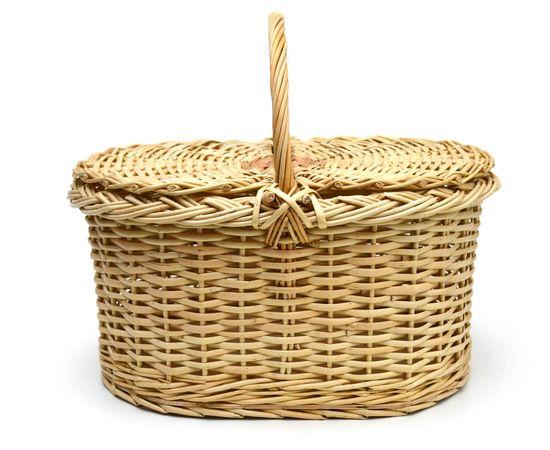 Корзина плетеная с крышкой для пикника большая, фото , изображение 2