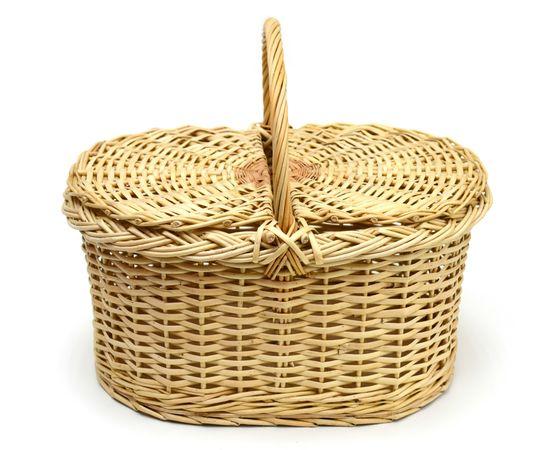 Корзина плетеная с крышкой для пикника большая, фото