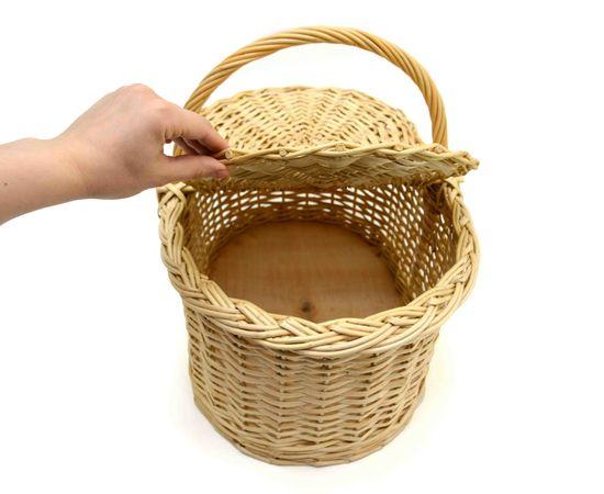 Корзина плетеная с крышкой для пикника большая, фото , изображение 3