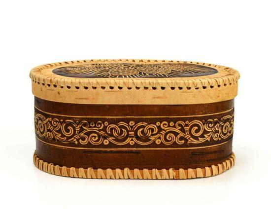 Шкатулка овальная на шарнире «Шишки», фото , изображение 2