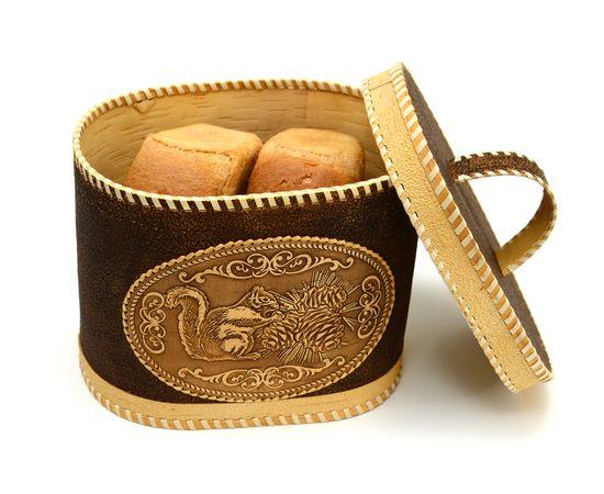 """Хлебница - короб из бересты с ручкой """"Белка с шишкой"""", фото , изображение 5"""