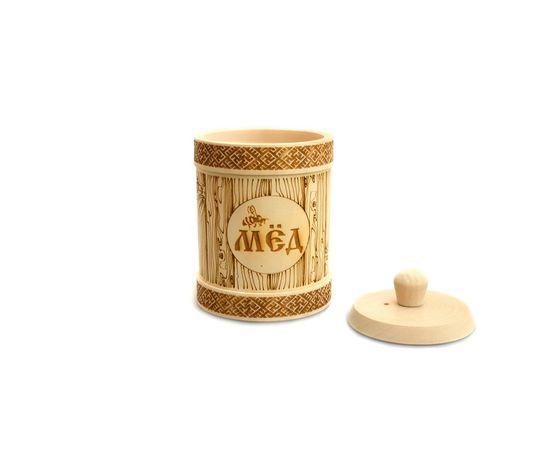Туесок деревянный для меда D9,5 - 0,5 кг, фото , изображение 3