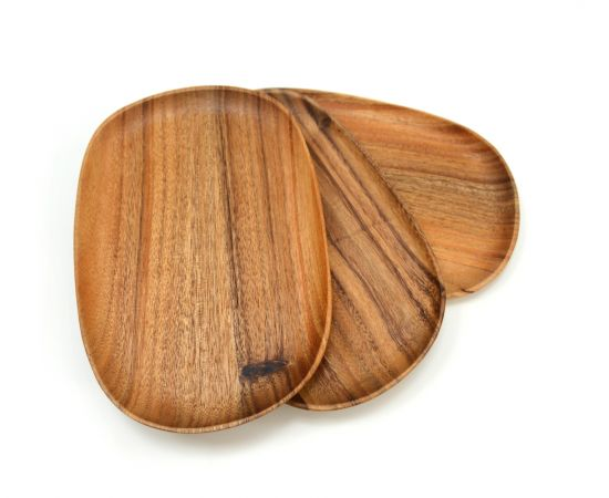 Тарелка деревянная ассиметричной формы из акации 30x20, фото , изображение 8