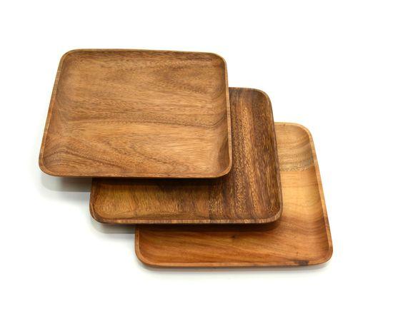 Тарелка деревянная квадратная из акации 25х25. Тарелка для закусок, фото , изображение 3