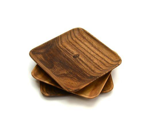 Тарелка деревянная квадратная из акации 20х20, фото , изображение 5