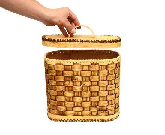 Хлебница плетеная высокая. Короб из бересты, фото , изображение 3