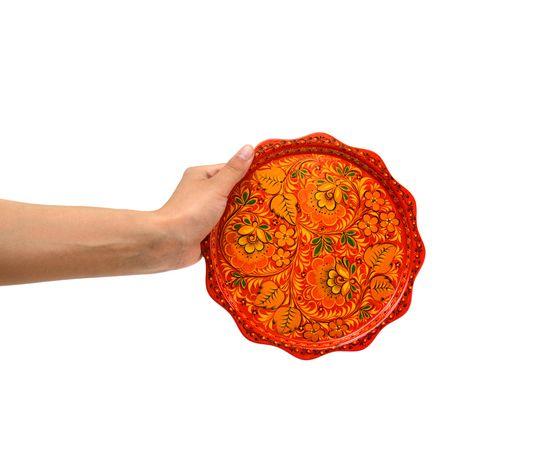 """Тарелка - поднос маленький хохлома """"Цветы"""" D20, фото , изображение 5"""