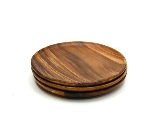 Тарелка деревянная круглая из акации D20, фото , изображение 3