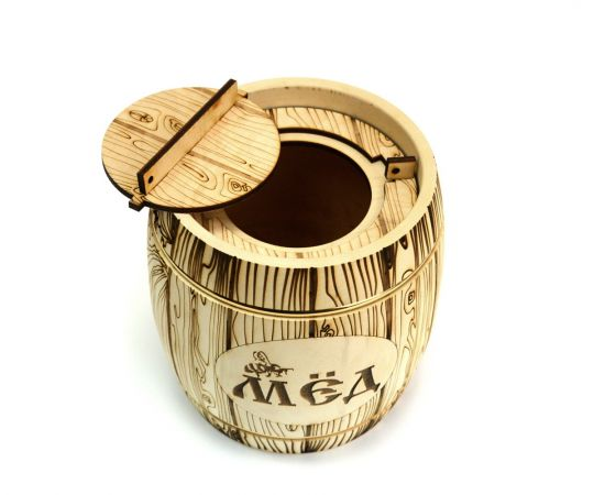 Бочонок для меда «Бондарь» светлый 2,0 кг, фото , изображение 3