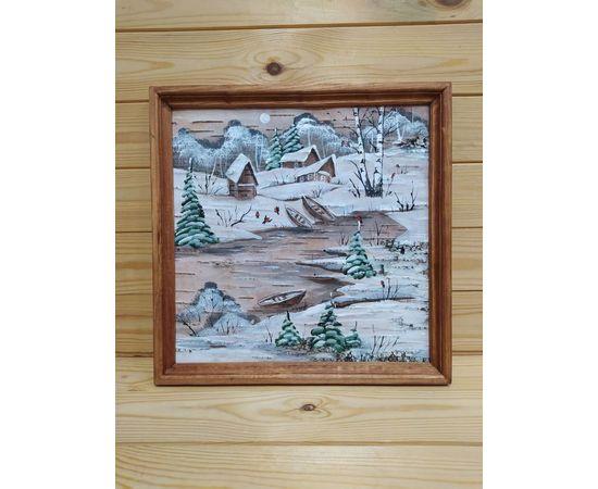 Картина на бересте «Зимний пейзаж» 34х34 (d48-49), фото , изображение 3