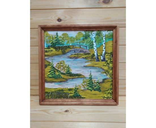 Картина на бересте «Лето в лесу» 34х34 (d48-49), фото