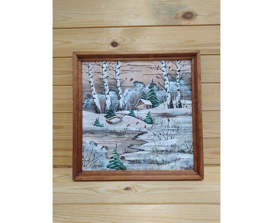 Картина на бересте «Зимний пейзаж» 34х34 (d48-49), фото , изображение 2