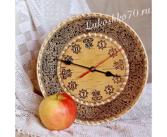 """Часы из бересты настенные средние """"Рябина"""", фото"""