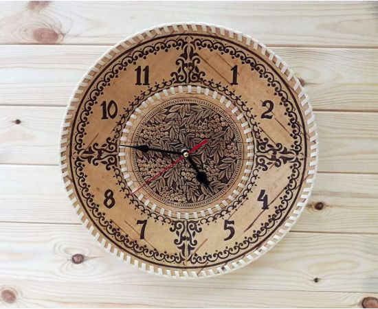 """Часы из бересты настенные большие """"Рябина"""", фото"""