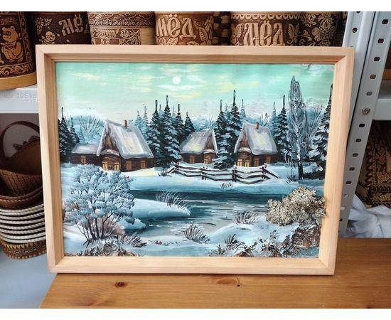 """Картина из бересты """"Зима"""" 43х33, фото"""