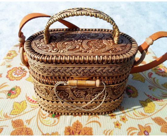 Берестяная сумочка «Цветочный орнамент», фото
