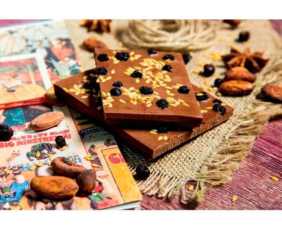 Молочный шоколад «Черника и лен», фото