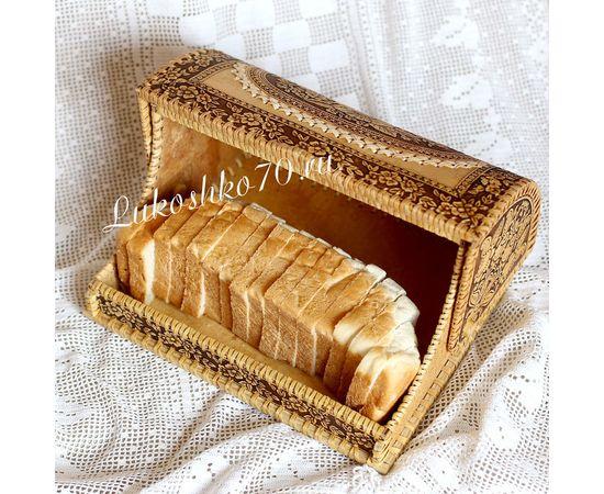 """Хлебница из бересты """"Маковый цвет"""" светлая, фото , изображение 3"""