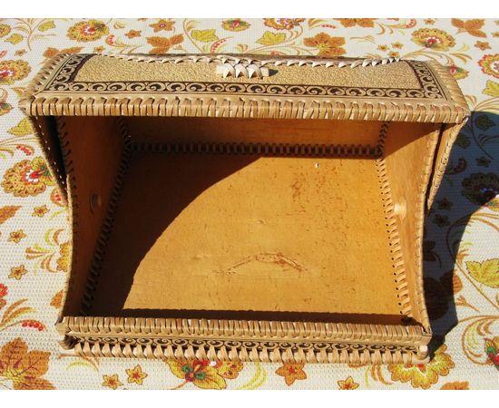 """Хлебница из бересты """"Цветочный орнамент"""", фото , изображение 3"""