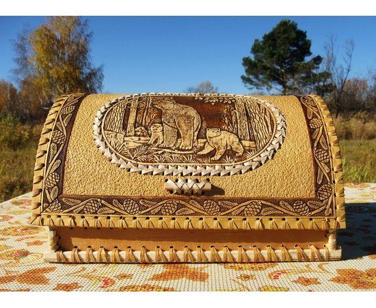 """Хлебница из бересты """"Медведица с медвежатами"""", фото , изображение 2"""